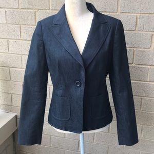 Ann Taylor blue denim blazer Sz 6 new